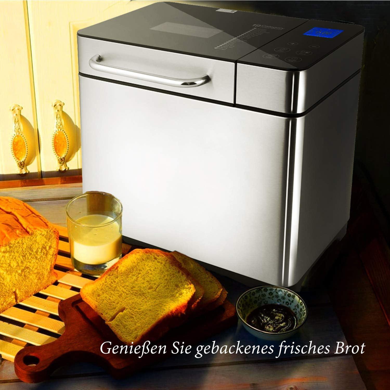 710W Warmhaltefunktion Sichtfenster und LED Bildschirm Meykey Brotbackautomat Backmeister Brotbackmaschine mit 19 Programme f/ür 500g-1000g Brotgewicht 15 Stunden Timing-Funktion