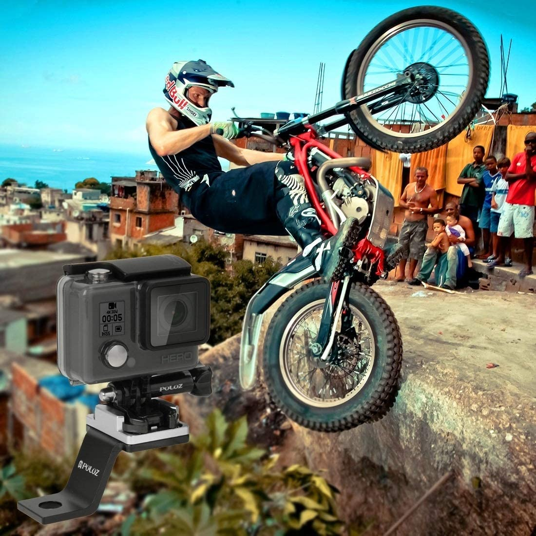 DJI OSMO Action Xiaoyi and Other Action Cameras Durable GuiPing Fixed Metal Motorcycle Holder Mount for GoPro HERO8 Black//Max // HERO7 Color : Black