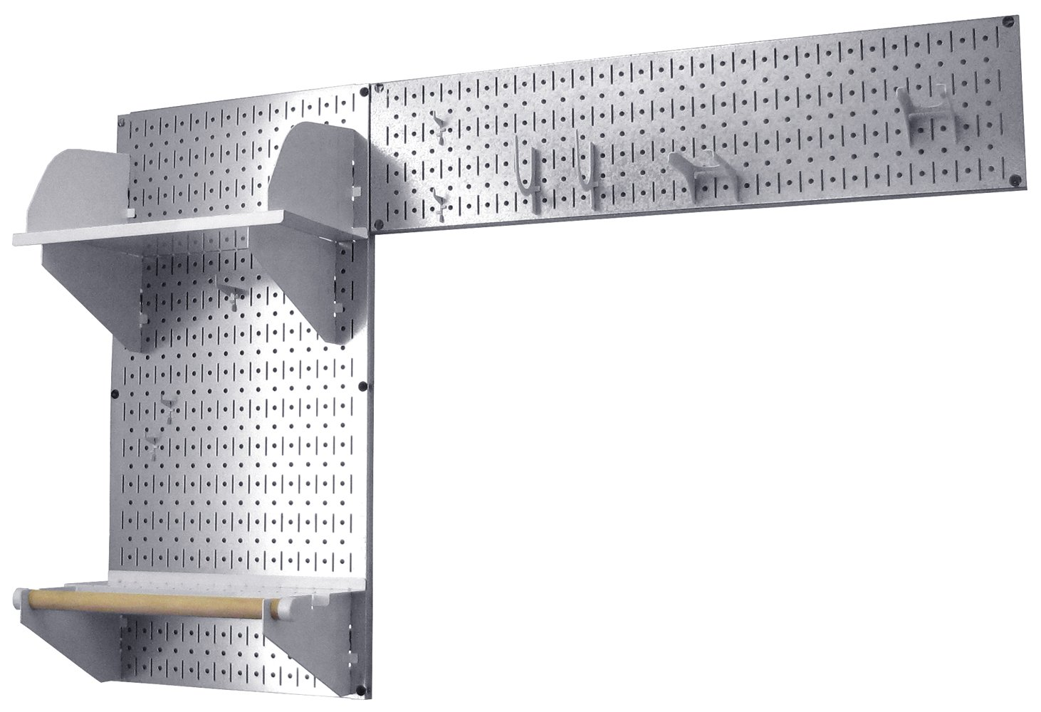 Wall Control Pegboard Garden Supplies Storage and Organization Garden Tool Organizer Kit with Metallic Pegboard and White Accessories
