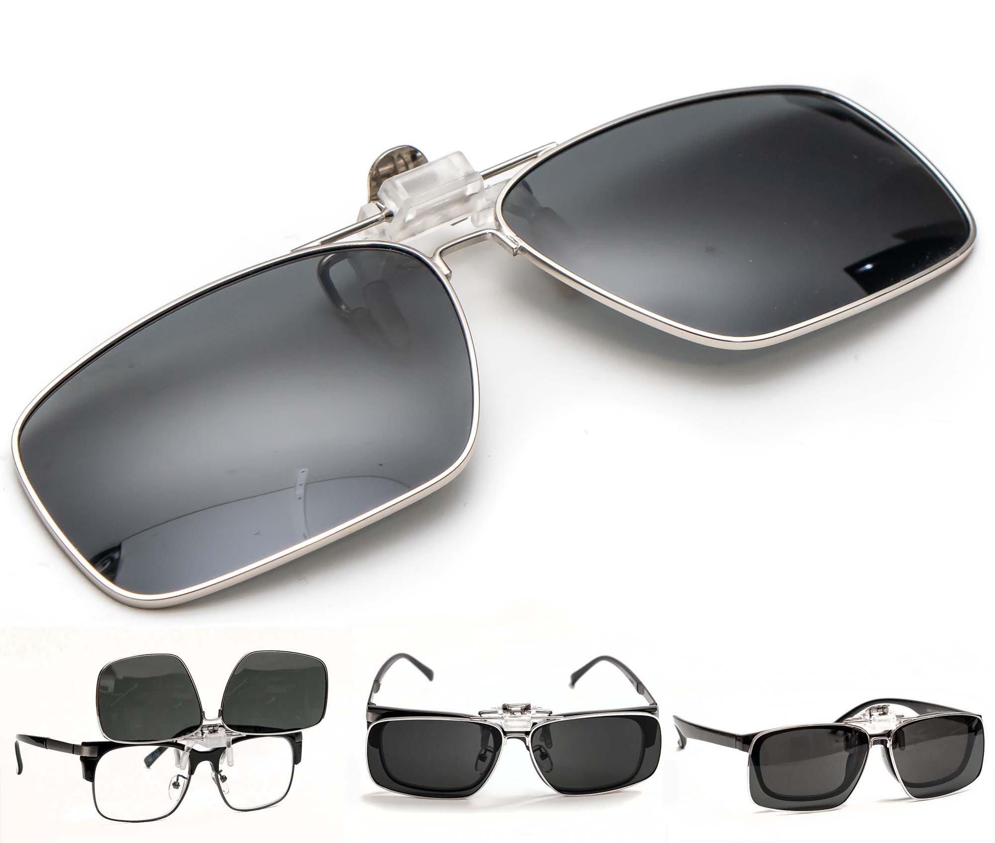 Metallic Rim Polarized Clip-on Driving Sunglasses with Flip Up Function, Anti-Reflective Anti-Glare UV400 UV Protection, Extra Large (Black)