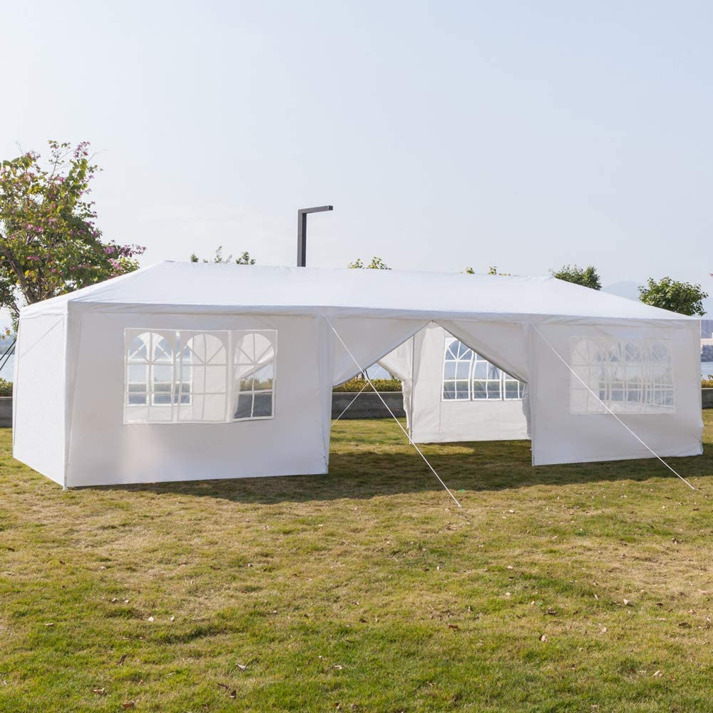 5 Removable Sidewalls 3 Doors Guyanee 10X30 Outdoor Patio Wedding Party Tent Heavy Duty Canopy Tent Gazebo Waterproof UV Protection Tent with Spiral Tubes White