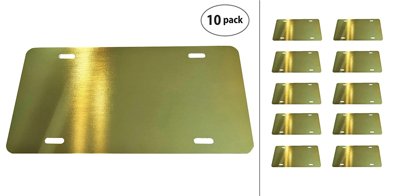 Anodized Aluminum License Plate Blank Heavy Gauge .040 - 12x6 Gold 1mm Partsapiens Corp
