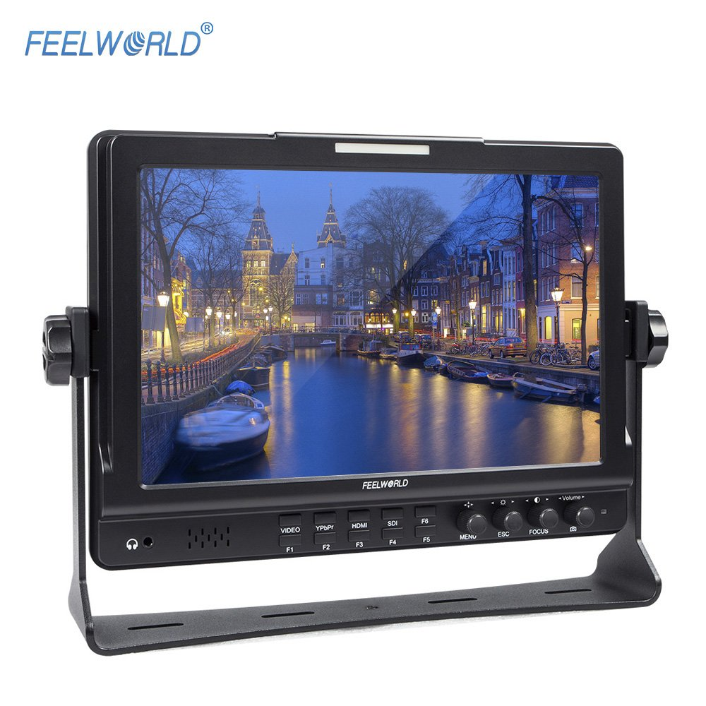 Andoer FEELWORLD FW1018S 10.1inch HD 1280 * 800 Video Monitor IPS LCD Screen HDMI 3G-SDI YPbPr 178° View Angle with U Shaped Bracket for DSLR Camera Camcorder