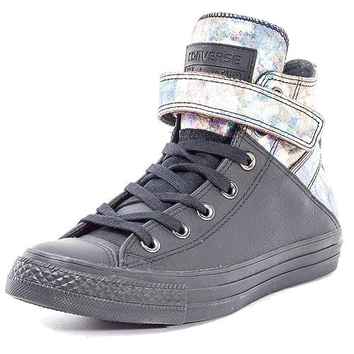 3cf5578dd9d Converse 551593C Chuck Taylor All Star Brea Womens Leather Hi-Top Shoes -  Black UK