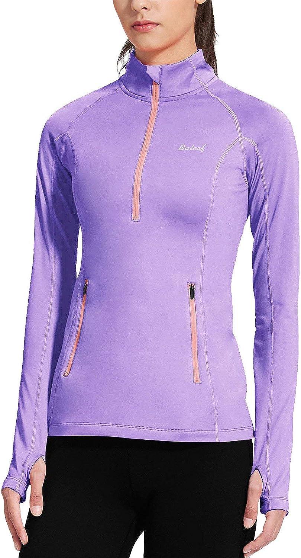BALEAF Women's Thermal Minneapolis Mall Fleece Half Thumbholes Max 63% OFF Zip Long Pullover