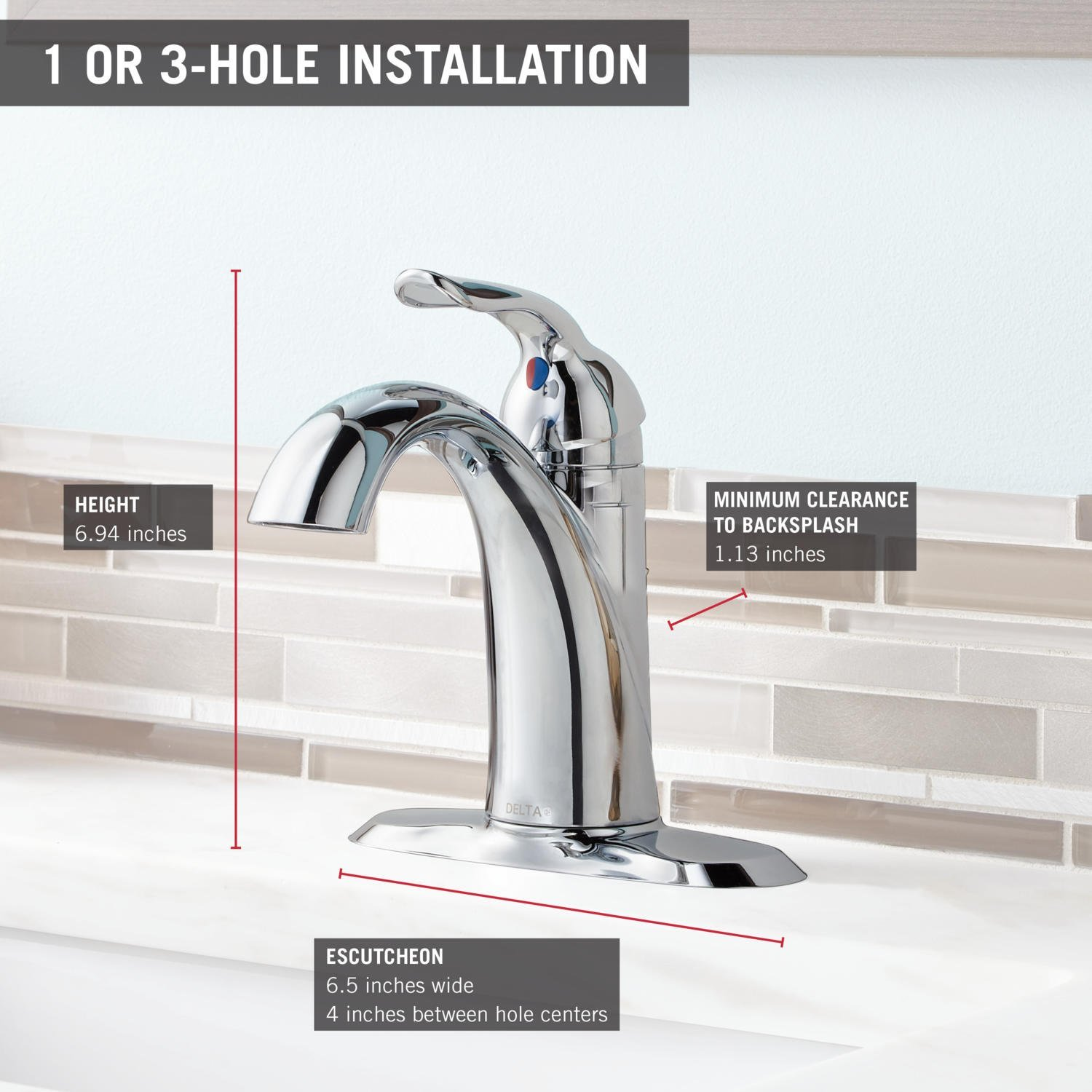 DELTA FAUCET Lahara Single-Handle Bathroom Faucet with Diamond Seal Technology and Metal Drain Assembly Venetian Bronze 538-RBMPU-DST