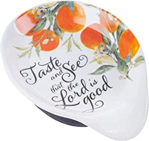 Citrus Floral Ceramic Spoon Rest | Taste and See Psalm 34:8 | Grateful Collection Bible Verse Home/Kitchen Decor, Inspirational Kitchen Accessory Dishwasher Safe w/Removable Silicone Base