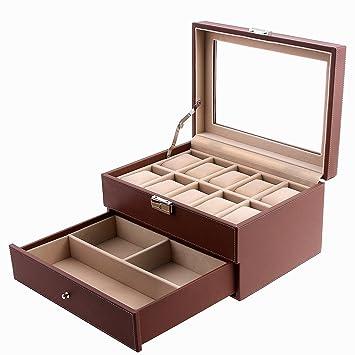Amazoncom SONGMICS Brown Watch Box Faux Leather Jewelry Case Watch
