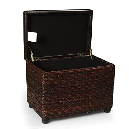 Genial Adeco Brown Storage Ottoman Stool With Bulrush /Rattan /Wicker Weave,  Upholstery With Sponge