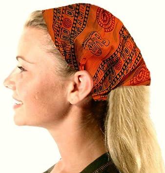 Amazon.com   Cotton Stretch Elastic Bohemian Hippie Gypsy Bandana Yoga  Hairband Hair Scarf w OM NAMAH SHIVAY (Orange)   Fashion Headbands   Beauty 2a794bd6869