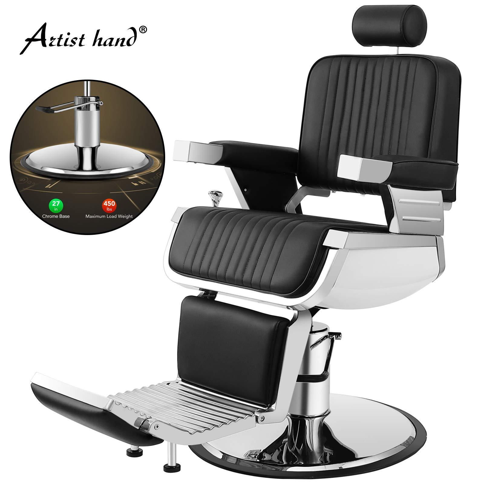 Artist Hand Heavy Duty Hydraulic Recline Barber Chair Salon Chair Barber Chairs for Hair Stylist Tattoo Chair Barber Salon Equipment (Black) by Artist Hand