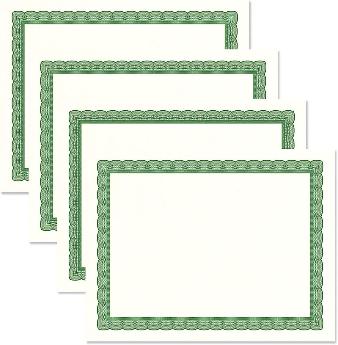 8-1//2 x 11 on 60 lb Laser /& Inkjet Printer Compatible Business Awards Executive Green /& White Parchment Certificate Papers Graduation for Office Pack of 100 Stock School Diplomas
