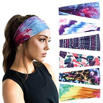 Amazon Com Dreshow 6 Pack Headbands For Women Plastic Boho Headbands Vintage Flower Printed Criss Cross Elastic Head Wrap Beauty