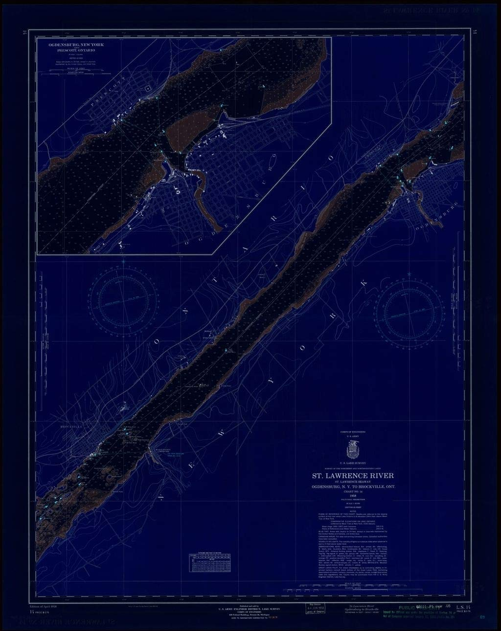 Vintography Blueprint Style 18 x 24 Reprint of 1958 Nautical Chart ST. Lawrence River, ST. Lawrence Seaway, Ogdensburg, N.Y. to BROCKVILLE, ONT. by Lake Survey NY