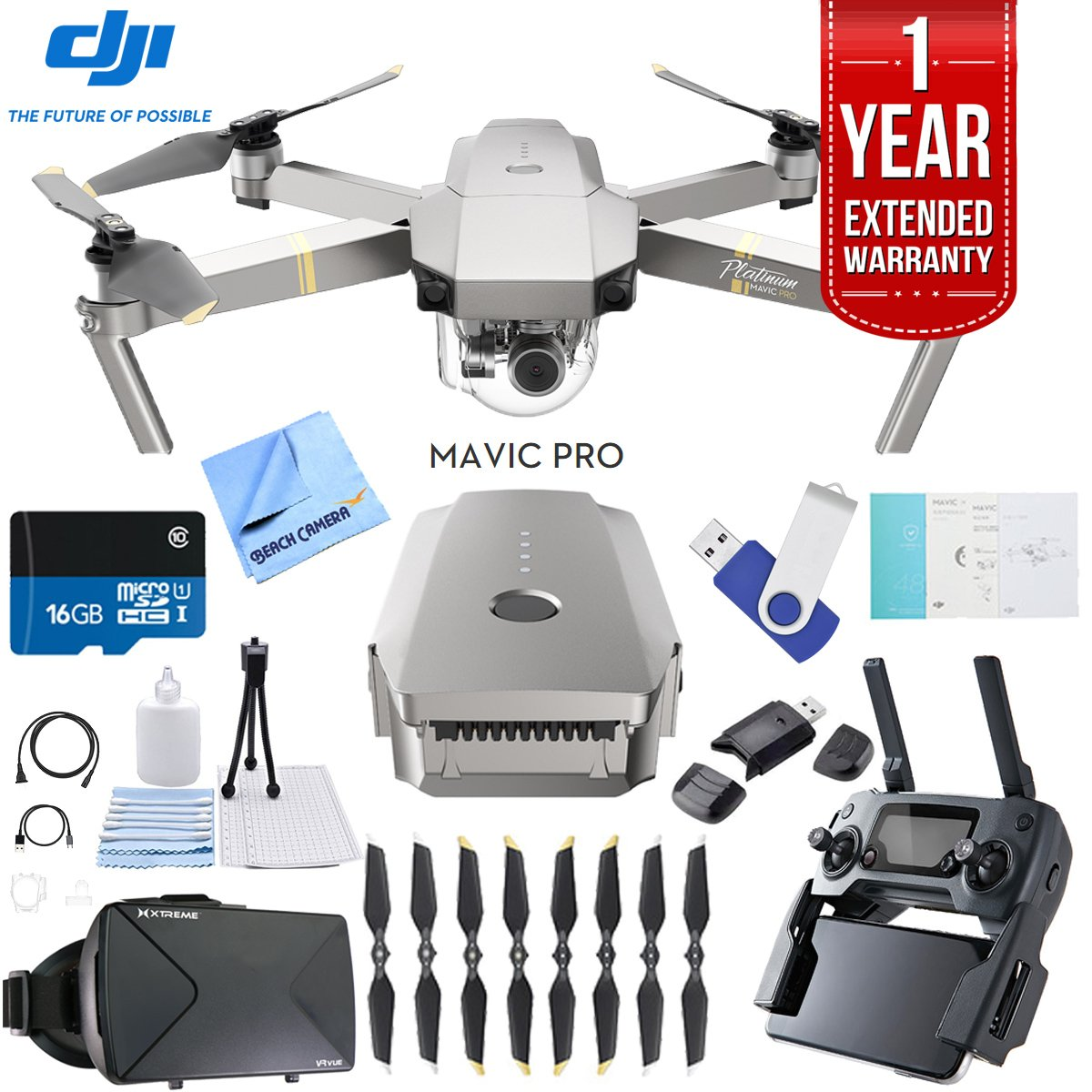 DJI Mavic Pro Platinum Quadcopter Drone with 1 Year Extended Warranty Plus 16GB Flash Drive, Virtual Reality Viewer, and MicroSD Card Reader Bundle