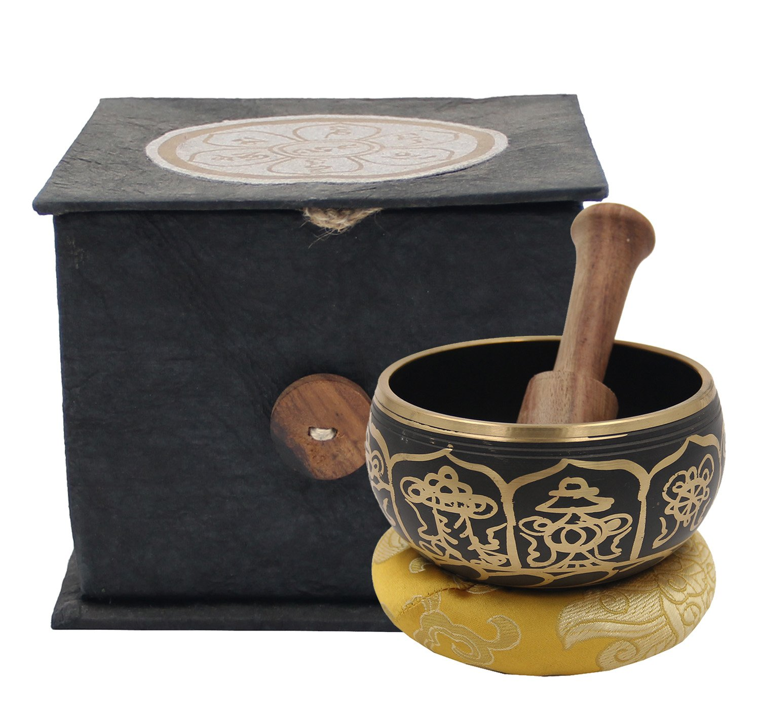 DharmaObjects Tibetan Buddhist Meditation Healing Chakra Therapy Singing Bowl Mallet And Cushion Box Gift Set (Om Mani Padme Hum) Lungta Imports 4334201826