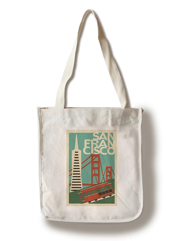 サンフランシスコ、カリフォルニア – Woodblock Canvas Tote Bag LANT-47249-TT B01841OCA0  Canvas Tote Bag