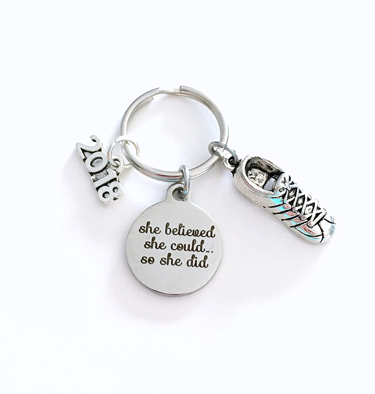 Running Key chain, Cross Country Keychain, Gift for Marathon Runner 2018