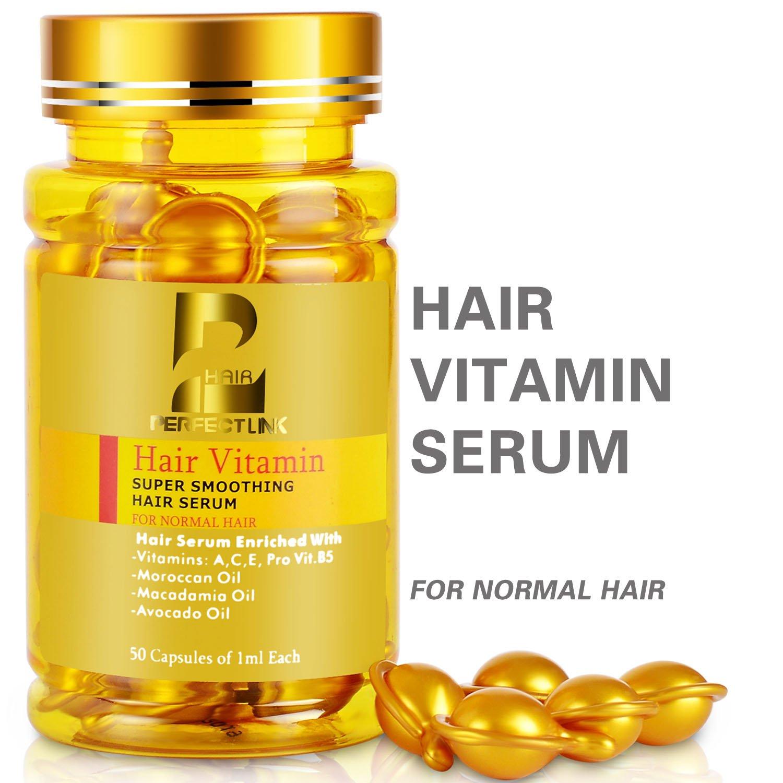Hair Serum, Hair Vitamins with Argan Oil, Macadamia and Avocado Oils, Vit A, C, E, Pro Vit.B5, 50 Capsules Oil, Perfect Link Hair Oil for Normal Hair (Gold Capsules)