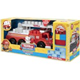 Tonka Mighty Builders Lights 'n Sounds Fire Tuff Truck Play Set (25-Piece) Try Me Package + Fireman & Firedog | Portable Storage, Easy Cleanup, Safe, Fun, Bright Colors | Imagination Creative Toys
