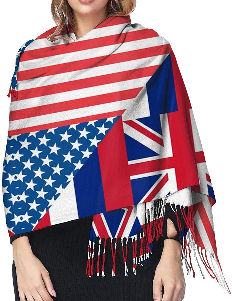 American and Hawaii Flag Cashmere Scarf Shawl Wraps Super Soft Warm Tassel Scarves For Women Office Worker Travel