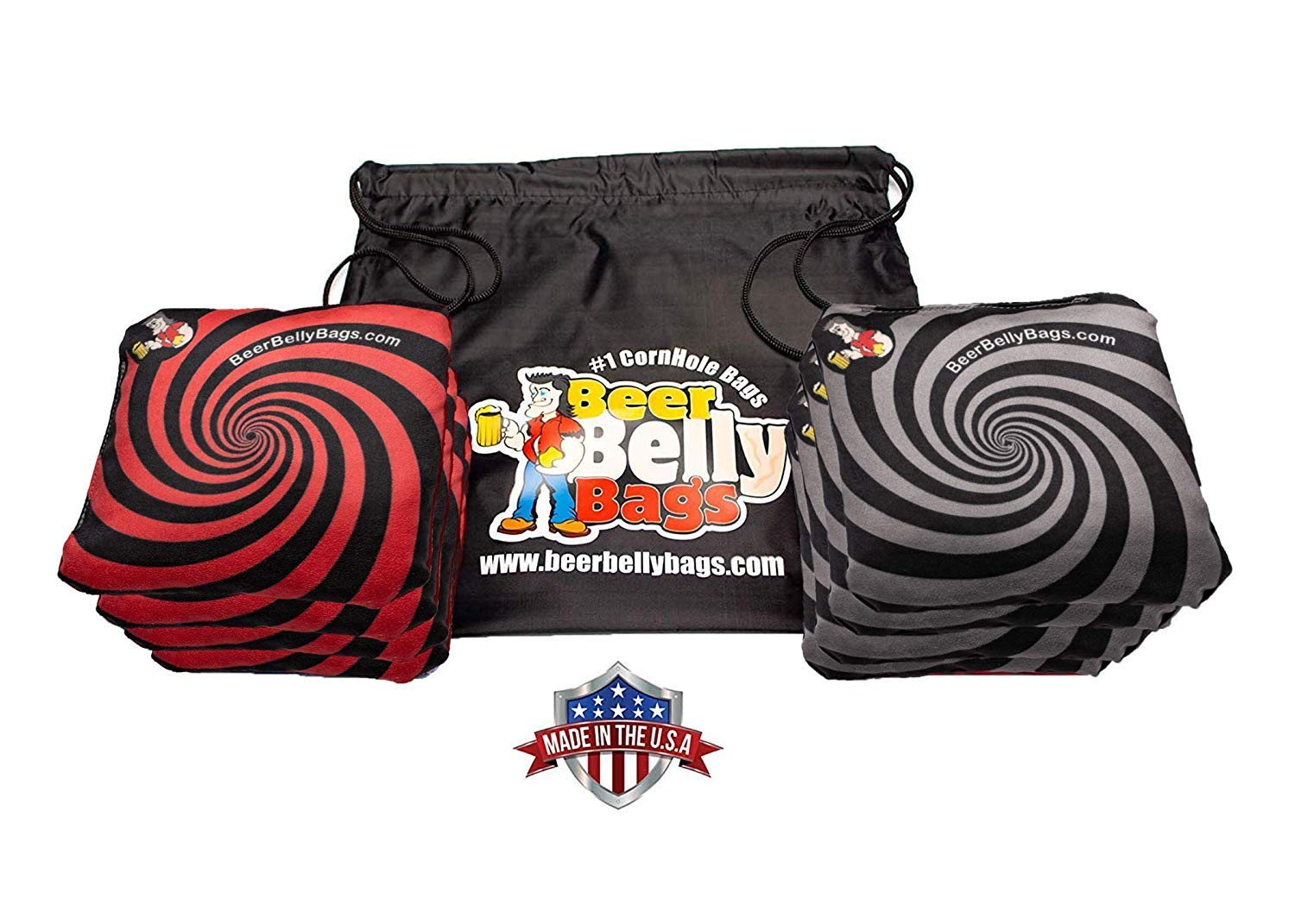 Beer Belly Bags Cornhole - Performance Series 8 Bags ACL Approved Resin Filled - Double Sided - Sticky Side | Slick Side (Red/Black) by Beer Belly Bags