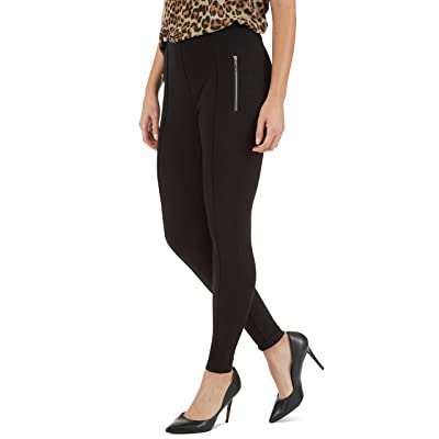 89th + Madison Zipper Trim Tapered Leg Ponte Knit Pants Black at Amazon Women's Clothing store