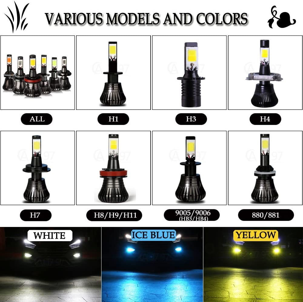 H1 Yellow LED Fog Lights Bulb Amber Gold Golden 3000K Strobe Flicker for Trucks Cars Lamps Kit Plug Error Free All in One Replacement Bulbs 12V 30W 2800LM Super Bright COB Chips 1 Year Warranty【1797】