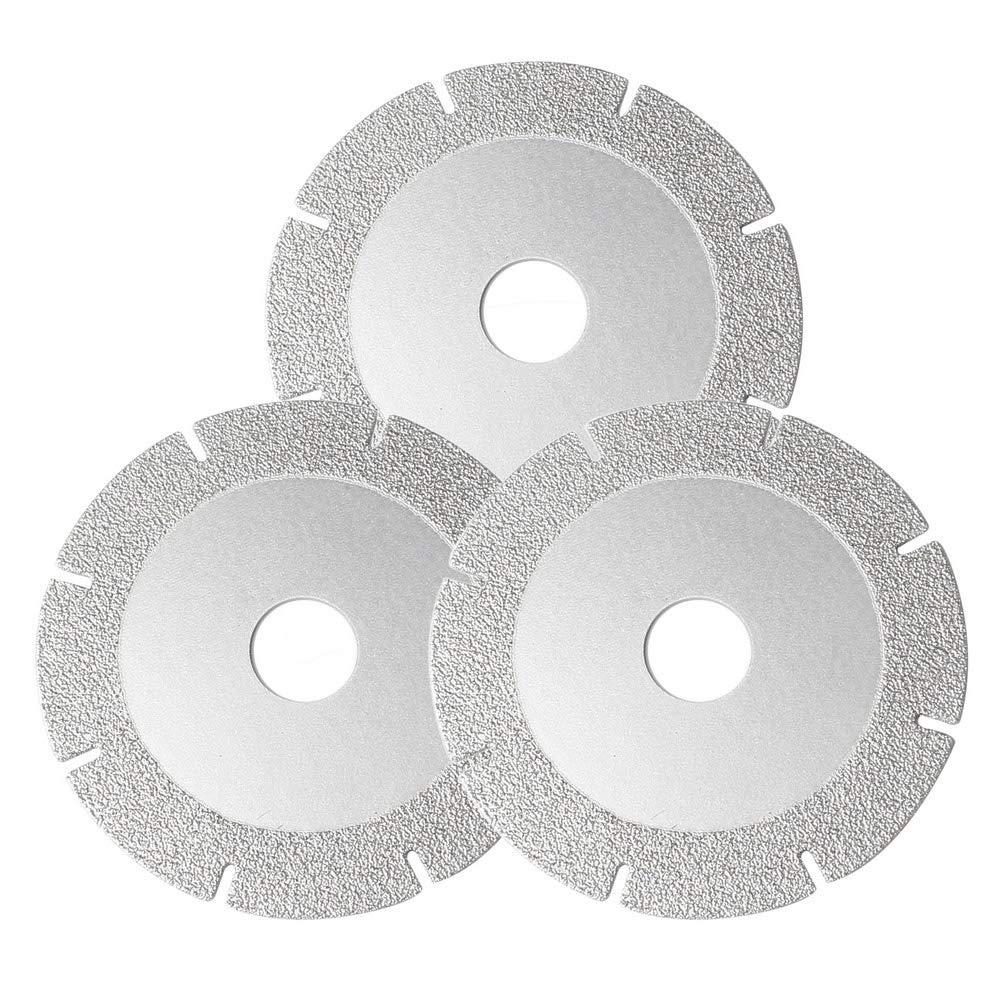 anjias 3 Pcs Diamond Blades, Diamond Disc Cutting Blade Angle Grinder Stone Brick Concrete Silver