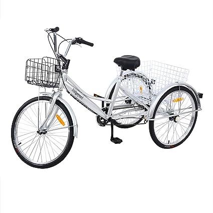 """Yonntech Triciclo para Adultos 24"""" 7 velocidades Bicicleta para Adultos Bicicleta 3 Ruedas Bicicleta Ciudad"""