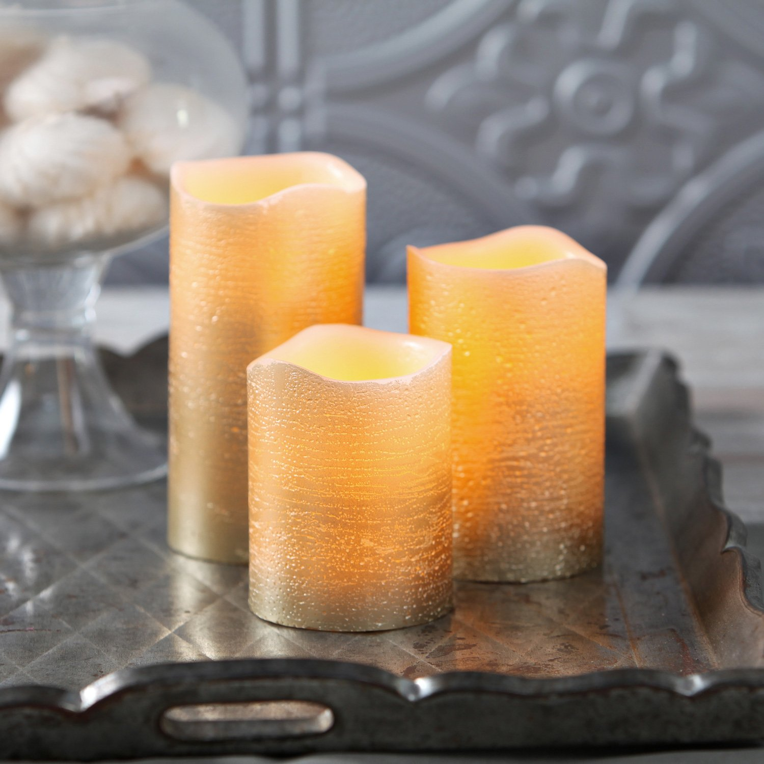 3 Distressed Gold Flameless Candles with Warm White LEDs Wax Batteries Remote Included