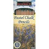 General Pencil Pastel Chalk Pencils, Assorted Colors, 12 Per Pack