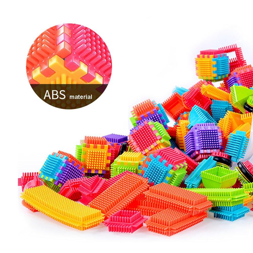 Anwish 100pcs Hedgehog Blocks Set Toddlers Educational Buliding Creative Toys with Bucket for Boys Girls