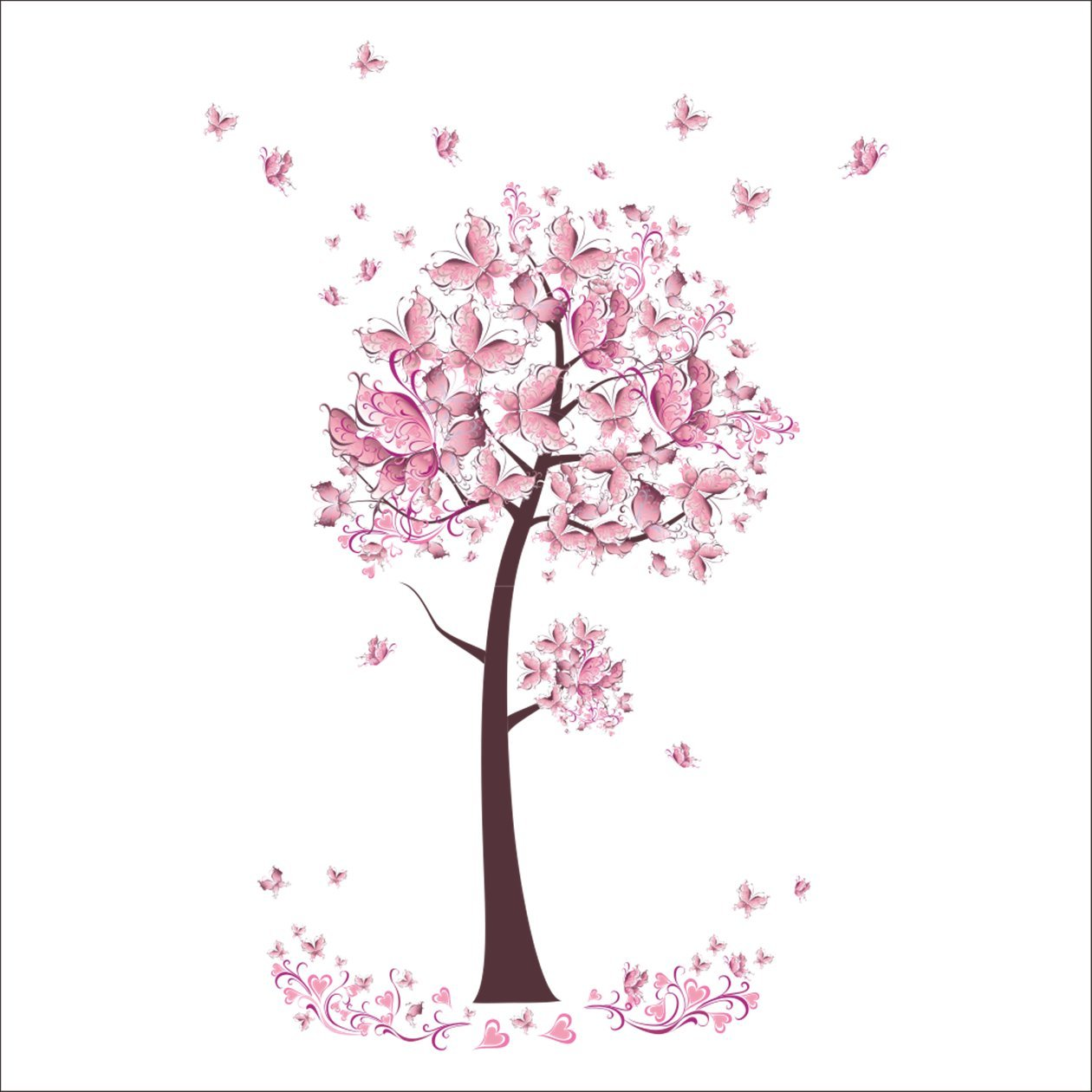 1 Pack Pink Butterfly Flower Tree Wall Stickers Decals Mural Vinyl Wallpaper Home Living Room Bedroom Princess Nursery Optimum Popular Dream World Moon Star Ocean Sun Removable Window Art Decor