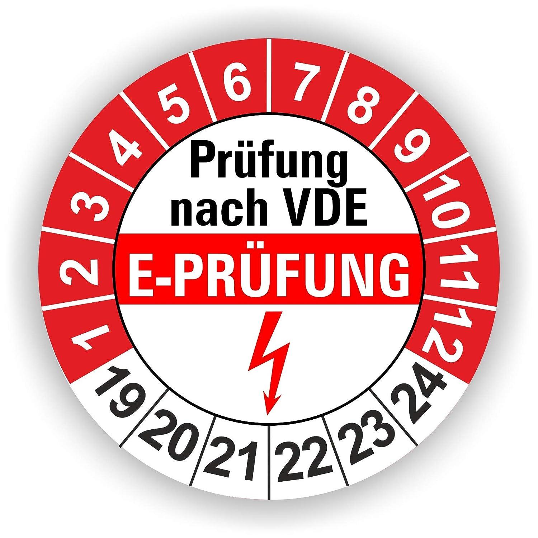 5-1.000 St/ück Pr/üfplaketten Pr/üfetiketten Wartungsetiketten E Pr/üfung /Ø 30mm Gelb 60 St/ück