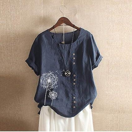 Mcaishen Camisa De Manga Corta para Mujer, Verano, Americana, Estampado Retro, Camisa Informal Suelta, Cuello Redondo, Manga Corta.(M, Blue): Amazon.es: Ropa y accesorios