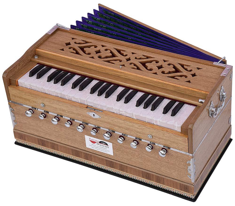 Harmonium Pro Grade By Kaayna Musicals, 11 Stop- 6 Main & 5 Drone, 3½ Octaves, Teak Colour, Flower Bellow, Coupler, Gig Bag - 440 Hz. Best for Yoga, Bhajan, Kirtan, Shruti, Mantra, Meditation, Chant by Kaayna Musicals (Image #5)
