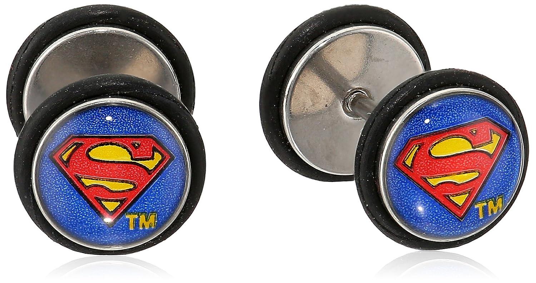 b81782145 Amazon.com: DC Comics Unisex Superman Logo Stainless Steel Screw Back  Earrings-18 Gauge: Jewelry