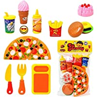Jiada HMC Plastic Kitchen/Restaurant Role Pretend Pizza Cutting Play Fast Food Set (Multicolour)