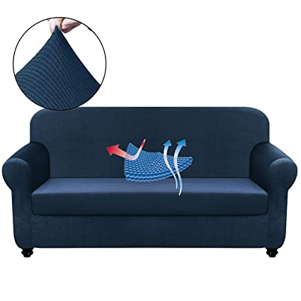 Chelzen Stretch Sofa Covers Living Room 2-Piece Extra Large Couch Covers  Striped Furniture Protectors Spandex Fabric Dog Sofa Slipcovers (XL Sofa,  ...