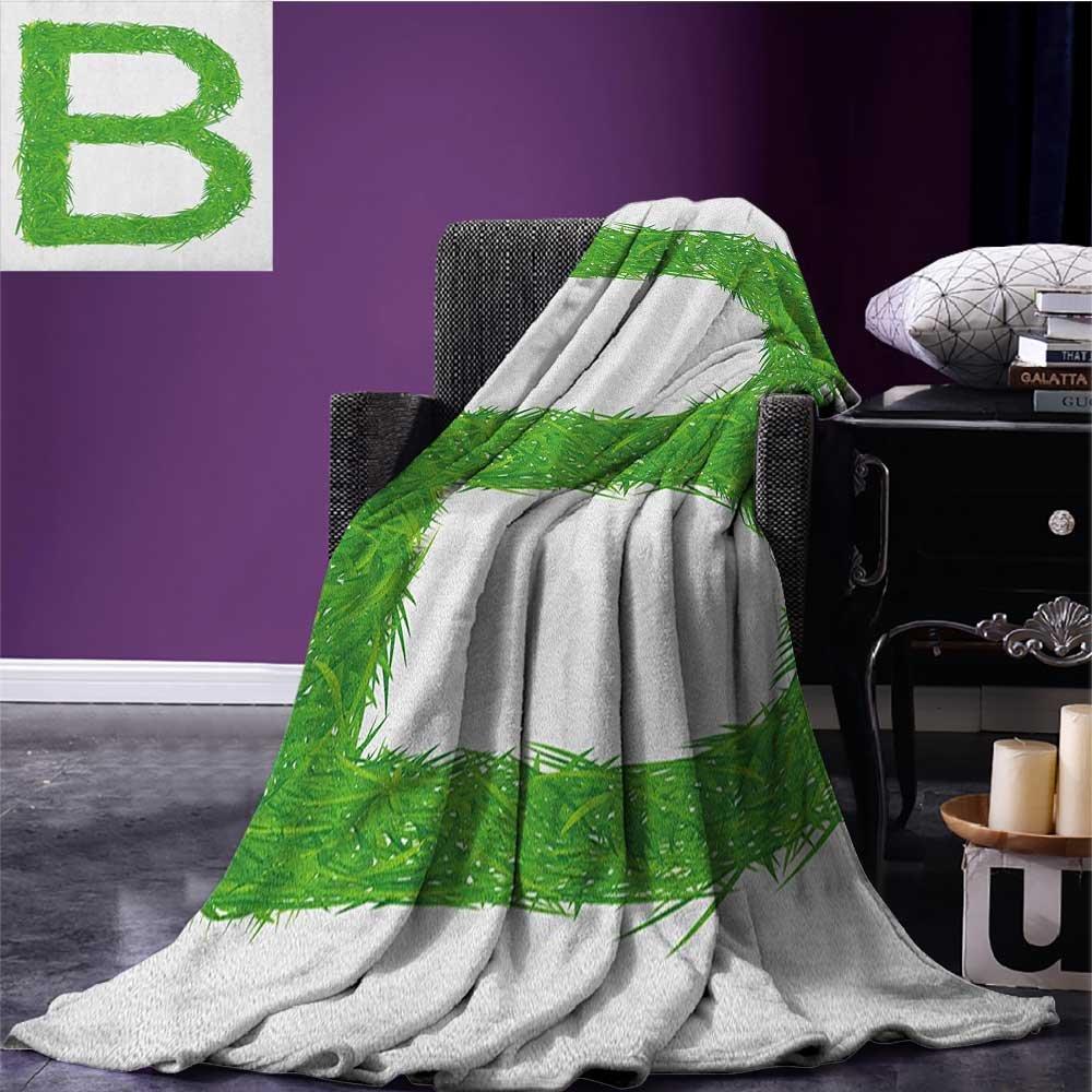 Letter B emergency blanket Kids Baby Boys Children Capital B Name Fresh Growth Environment Ecology Concept Print Green White size:50''x60''