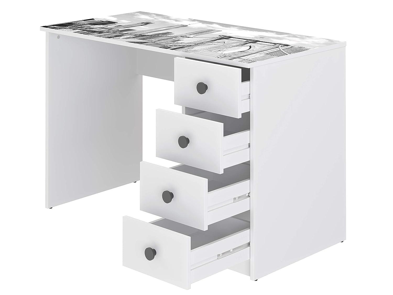 estampado 56 x 110 x 73,5 cm Movian Constance Modern Escritorio con 4 cajones