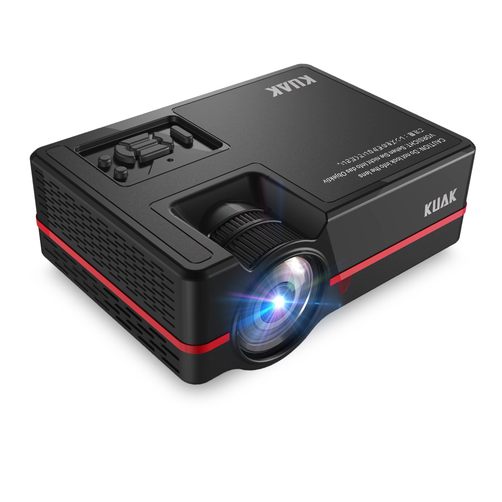 Projector, KUAK Mini Projector 2200 Lumens 170'' Display, Portable Multimedia Home Theater LED Video Projector Support HD 1080P HDMI VGA USB SD AV TV for Smartphone Laptop Fire TV Stick etc, HT30&Red