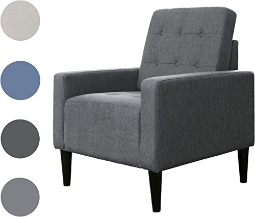 Top Space Accent Chair Living Room Chair Arm Chairs Single Sofa Upholstered Comfy Fabric Mid-Century Modern Furniture for Bedroom Office Large, Dark Gray