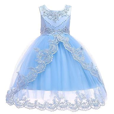 9fb48bb466b6e KELUOSI Robes Filles Cérémonie Vetement Enfant Fille Robe Princesse Belle  Bal Anniversaire Mariage  Amazon.fr  Vêtements et accessoires