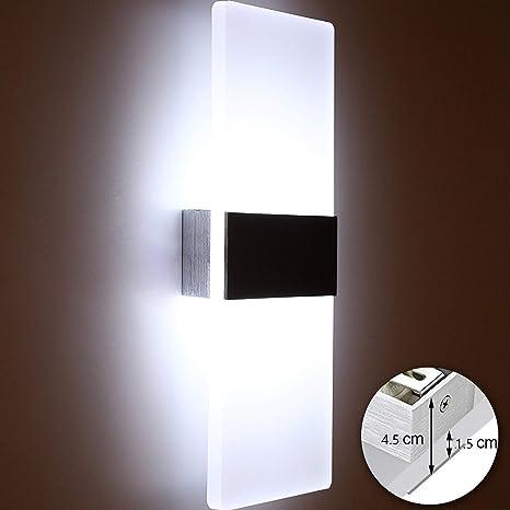 Glighone Applique da Parete Interni Lampada a Muro Applique LED Moderne in  Acrilico 12W per Decorazione Soggiorno Camera da Letto Bagno Colore Bianco  ...