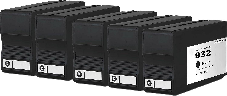 Metro Market 5 Negro tinta Reemplazo HP 932XL 933XL Cartucho de tinta Negro para impresora HP Officejet 6700 Premium 7110 6600 6100 7612 7610 0c7416