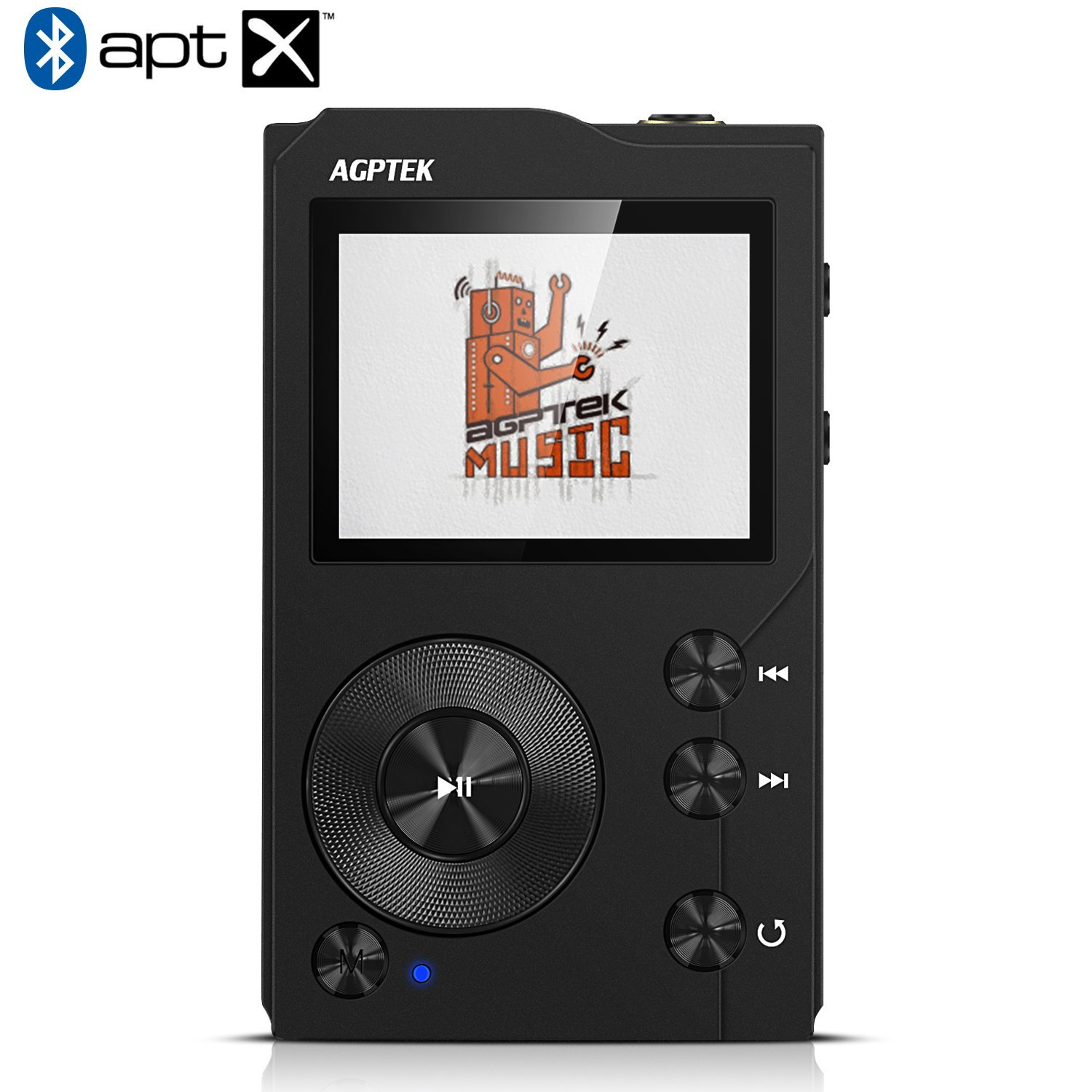AGPTEK H3 HIFI Bluetooth MP3 Player High Resolution Lossless Digital Audio Player with 32GB Memory Card, Support Up to 256GB, Black