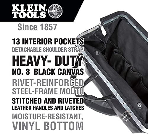 Klein Tools 510218SPBLK Tool Bag, Large 18-Inch Deluxe Canvas Tool Bag and Organizer with 13 Pockets and Shoulder Strap, Black