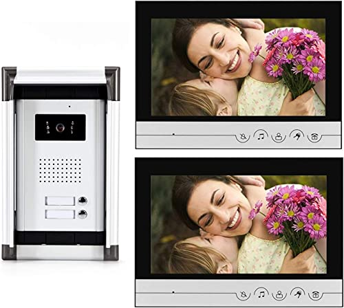 Video Intercom System, 9 inches Wired Video Doorbell Phone System Kit with1 Night Vision Camera and 2 Monitor, Support Monitoring, Unlock, Dual Way Intercom for 2 Unit Apartment